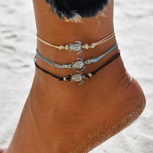Turtle Adjustable Anklet Black Silver Color